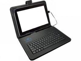 Universele 7 inch lederen hoes met QWERTY toetsenbord Zwart